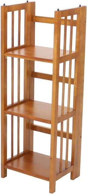 Casual Home 3-Shelf Folding Stackable Bookcase, 14-Inch Wide, Honey Oak