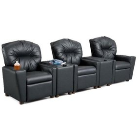 Children's Home Theater Recliner Set with Storage Console Color: Amazon Sand, Number of Seats: 2