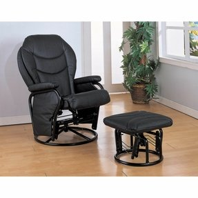 Cosmo Leather Swivel Glider Recliner Black