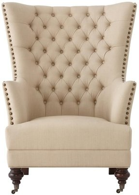 "Delia Tufted Wingback Chair, 45.75""Hx35.5""W, LINEN BEIGE"