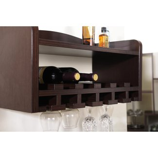 Enitial Lab Venire Wall-Mounted Wine Rack and Glass Holder, Walnut