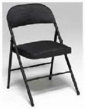 Fabric Seat and Back Folding Chair in Black (Set of 4) [Set of 4] Color: Black