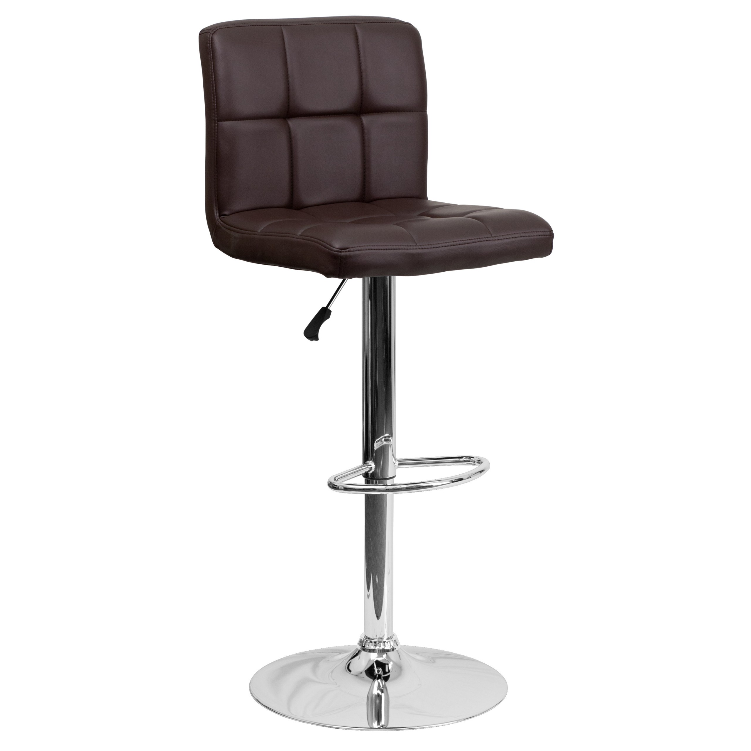 Flash Furniture 2 Pack Contemporary Quilted Vinyl Adjustable Height Bar  Stool With Chrome Base,