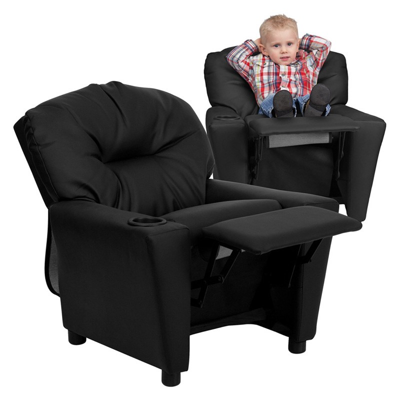 Merveilleux Flash Furniture BT 7950 KID BK LEA GG Contemporary Black Leather