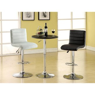 Furniture of America Milano Adjustable Leatherette Bar Stool, Black
