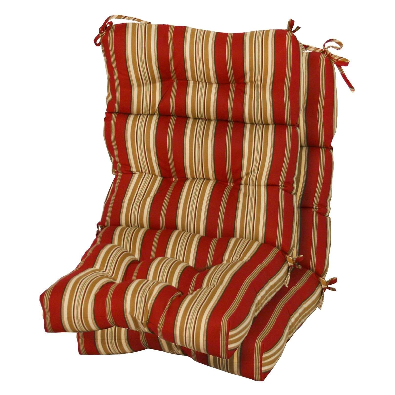 Merveilleux Greendale Home Fashions Indoor/Outdoor High Back Chair Cushions, Roma  Stripe, Set Of