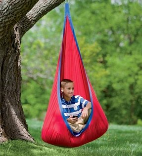 Hearthsong Hugglepod Deluxe Hanging Chair | Hanging Seat, in Red
