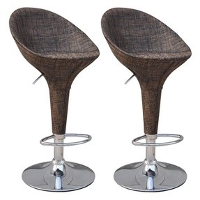 HomCom Modern Adjustable Pub Swivel Barstool 2 pack - Rattan Wicker