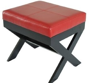 Homcom Modern Faux Leather Ottoman / Footrest Stool - Red