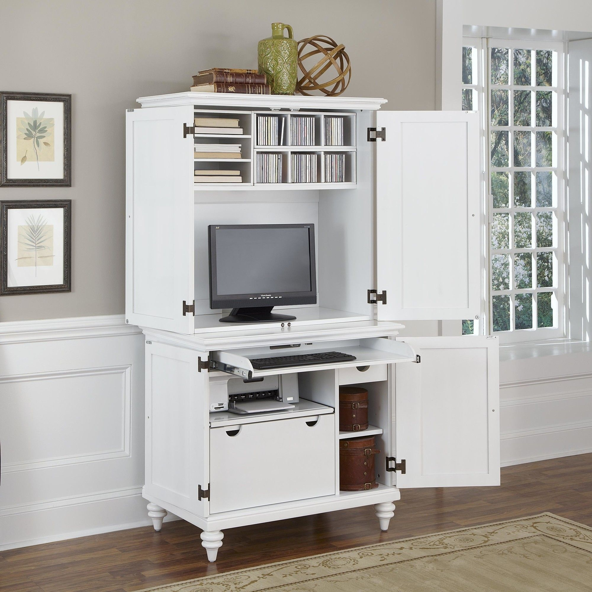 Home Styles 5543 190 Bermuda Compact Computer Cabinet And Hutch, Brushed  White