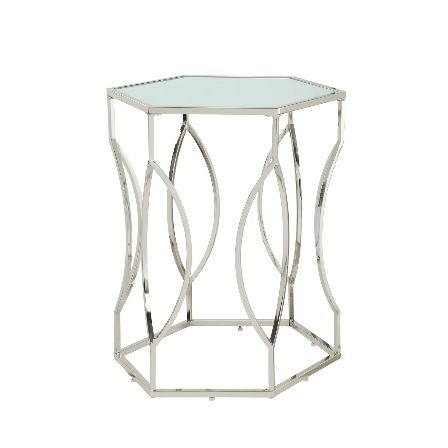 Kingsbury Home Alberto Contemporary Hexagon Wavy Glass Top Accent Table,  Chrome Finish