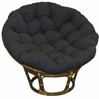 Large Black 44 Inch Twill Papasan Round Lounge Chair Seat Cushion Pillow for Maximum Comfort