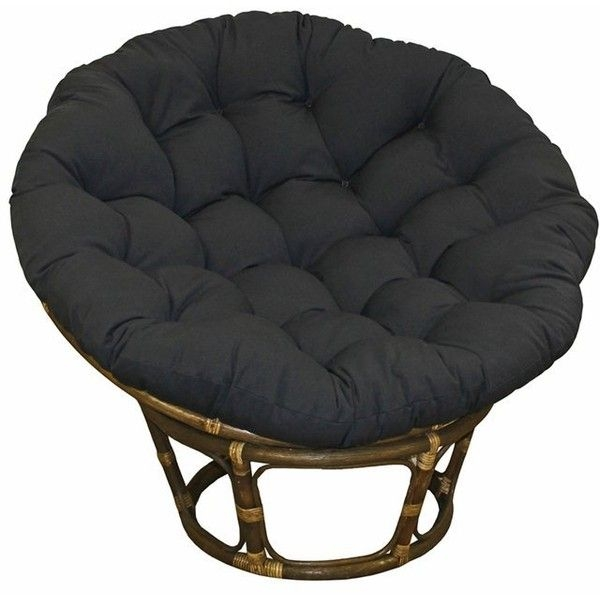 Lovely Large Black 44 Inch Twill Papasan Round Lounge Chair Seat Cushion Pillow  For Maximum Comfort