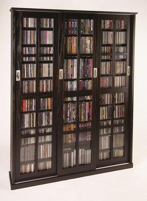Leslie Dame Ms 1050es Mission Style Multimedia Storage Cabinet With Sliding Gl Doors Espresso