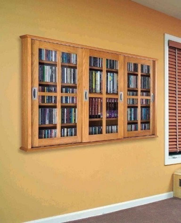 Leslie Dame MS 525 Wall Mounted Sliding Door Mission Style Media Storage  Cabinet, Oak