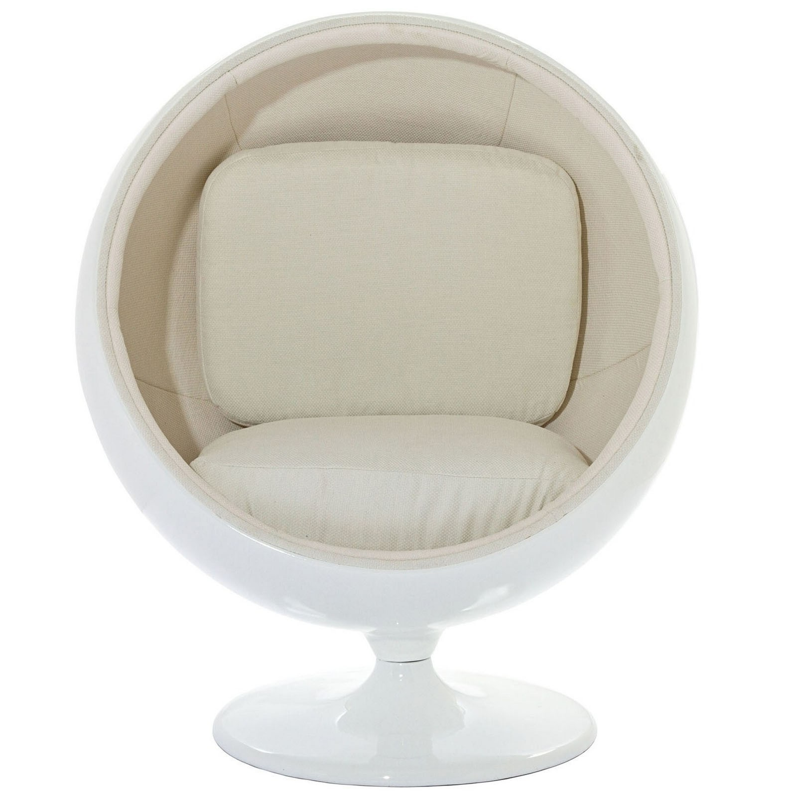 LexMod Eero Aarnio Style Ball Chair In White