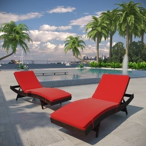 LexMod Peer Outdoor Wicker Chaise Lounge Chair With Brown Rattan And Red  Cushions, Set Of