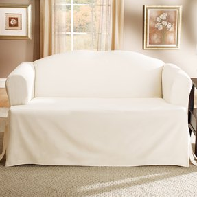 Lightweight Cotton T-Cushion Sofa Slipcover - Natural