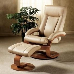 Mac Motion Chairs Model 2-Piece Recliner with Matching Ottoman Cobblestone Leather with Walnut Frame