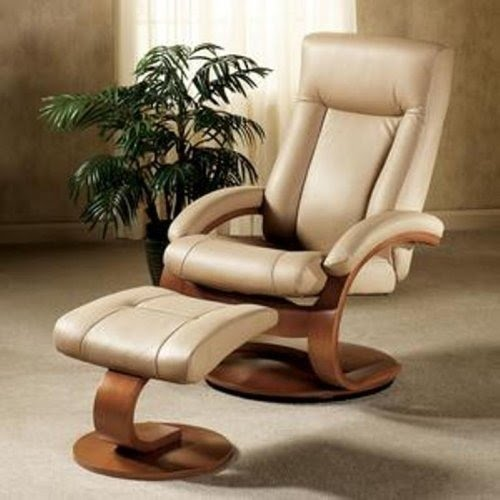 Charmant Mac Motion Chairs Model 2 Piece Recliner With Matching Ottoman Cobblestone  Leather With Walnut Frame
