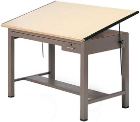 "Mayline Ranger Steel Four-Post Drafting Table with Tool & Plan Drawers, 72"" W x 37.5"" D (7737B - Desert Sage Base, Birch Top)"