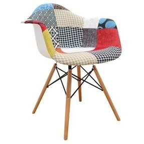 Mid Century Modern Eames Style DAW Patchwork Fabric Upholstered Armchair with Wood Dowel Base