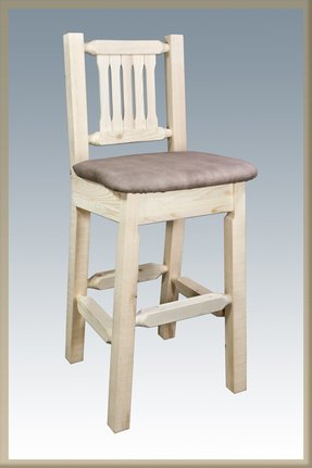 Montana Woodworks Homestead Collection Barstool with Back and Sand Pattern Upholstered Seat, Clear Lacquer Finish