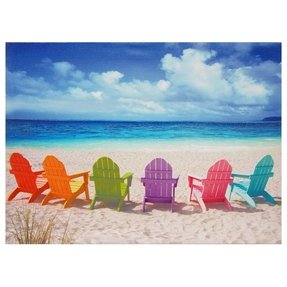 Oriental Furniture Colorful Vacation Home Decor 23-Inch Beach Chairs Canvas Wall Art Photo Print