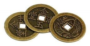 Oriental Furniture Single Round Chinese Good Luck Coin with Square Center