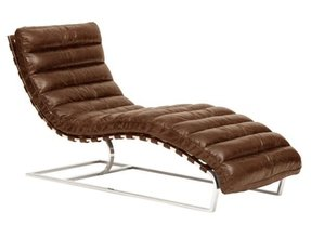 Oviedo Leather Chaise - Vintage Cigar