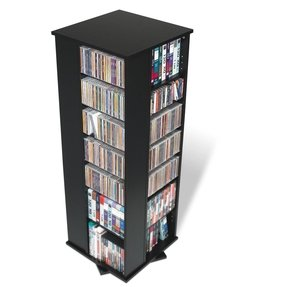 Prepac Black 4-Sided Spinning Media (DVD,CD,Games) Storage Tower