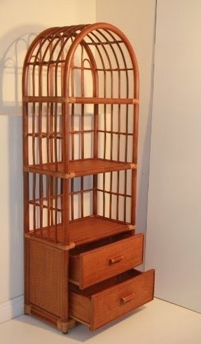 Rattan Handmade Wicker Bookcase Display Rack with 2 Drawers Colonial Fully Assembled