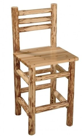 Rush Creek Log Cabin Style Pub Chair