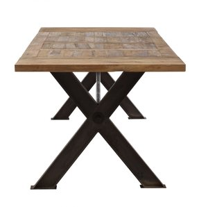 Rustic Metal and Reclaimed Wood Industrial Dining Table