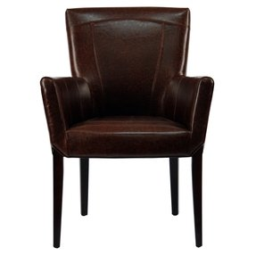Safavieh Hudson Collection Greenwich Bicast Leather Arm Chairs, Brown