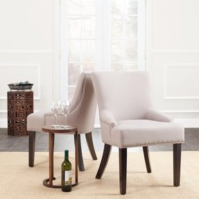 Safavieh MCR4700A-SET2 Mercer Collection Christine Beige Linen Nailhead Dining Chair, Set of 2