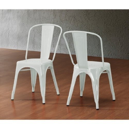 Set Of 2 White Xavier Pauchard Tolix A Style Chairs In Powder Coat Finish  Steel Metal