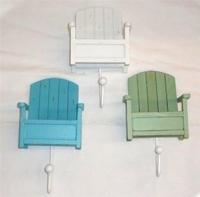 "Set of 3 Towel Hooks - Beach Chair Design - Overall Hook Is 8"" X 4.5"""