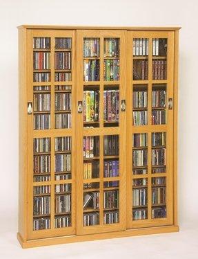 Sliding Door Inlaid Glass Mission Style Multimedia Cabinet (MS-1050 Series) Oak
