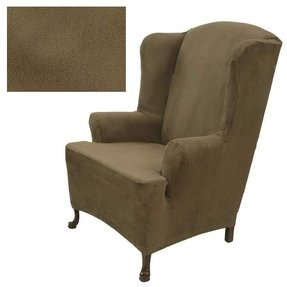 Stretch Suede Merlot Wing Chair Cover 733