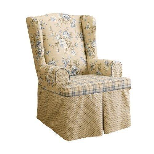 Sure Fit Lexington Wing Chair Slipcover, Blue