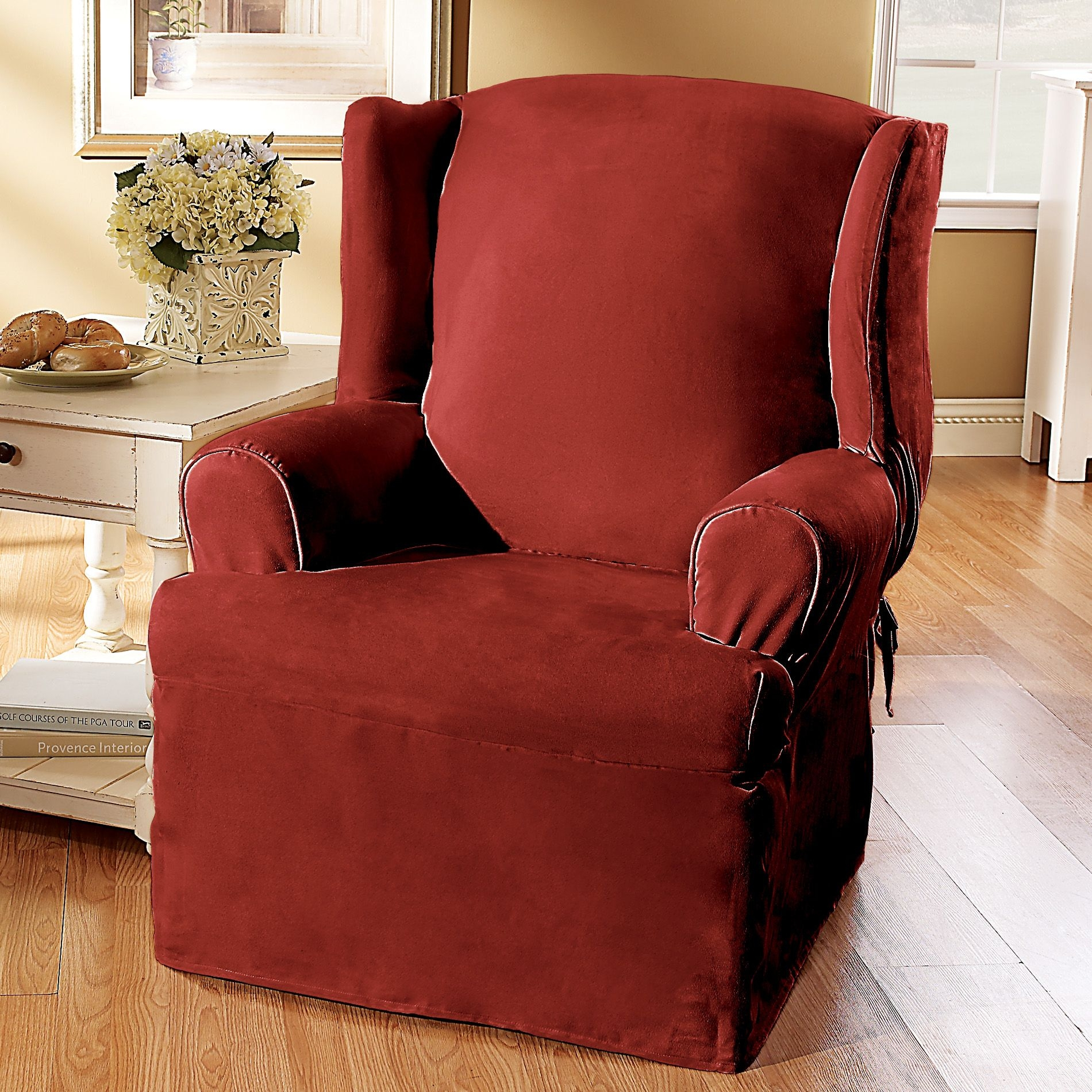 Marvelous Sure Fit Soft Suede Wing Chair Slipcover, Burgundy