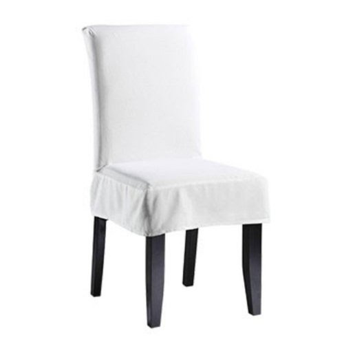Sure Fit Twill Supreme Short Dining Room Chair Cover, White