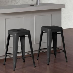 Tabouret 24-inch Charcoal Grey Metal Bar Stools (Set of 2). New