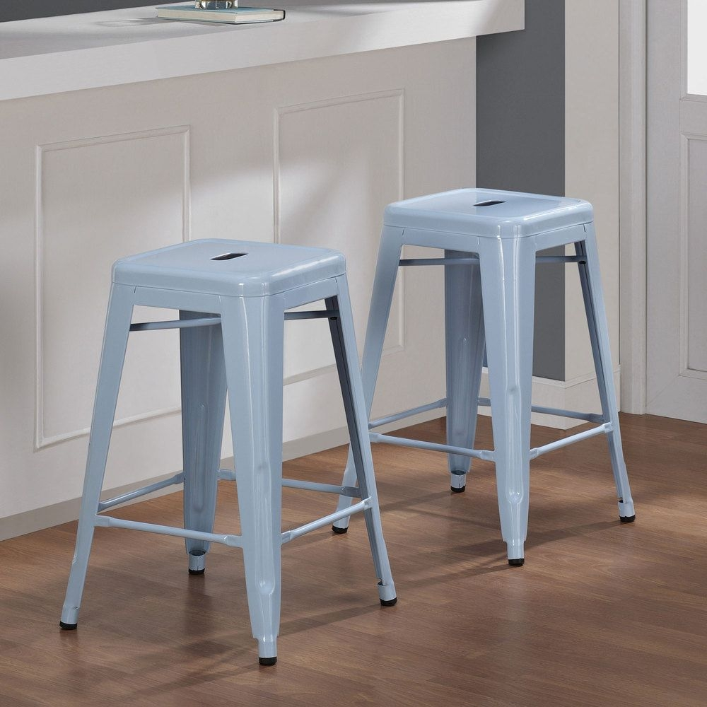 Tabouret 24-inch Light blue Bar Stools (Set of 2).