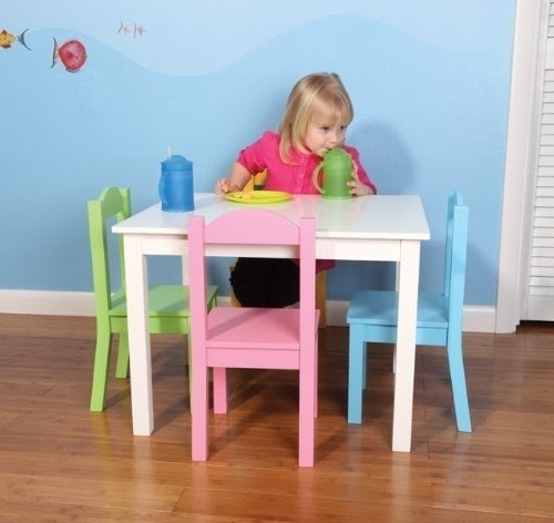 Tot Tutors Kidsu0027 Table and 4 Chair Set Pastel Wood & Kids Round Table And Chairs - Foter