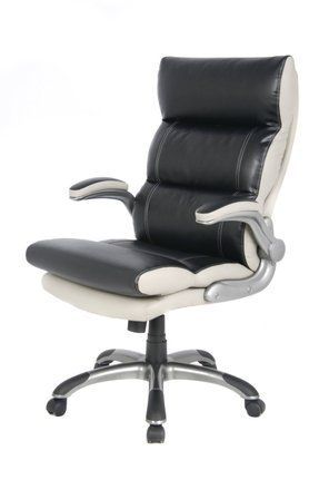 VIVA OFFICE® Comfort Luxury High-Back Black and White Bonded Leather Double Thick Padded Executive & Managerial Computer Desk Recliner Swivel Office Chair with Adjustable Armrest and Excellent Lumbar Support-Viva0502L1