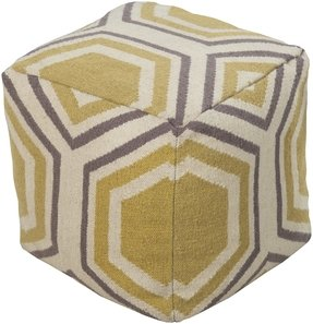 "18"" Mustard Gold, Smokey Gray and Ivory Geometric Shape Square Wool Pouf Ottoman"