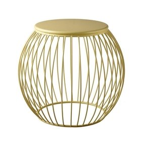 "20.5"" Modern Warm Golden Yellow Round Linear Metal Accent Table"