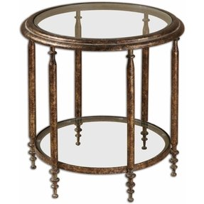 "23"" Amico Antiqued Mottled Gold Metal & Clear Glass Round Accent Side Table"
